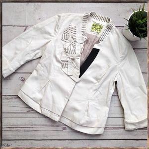 ANTHROPOLOGIE FLOREAT Origami White Bow Jacket 6